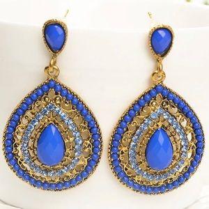 Blue Bohemian beads pendant drop earrings
